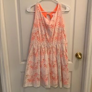 White lace dress with coral underlay!